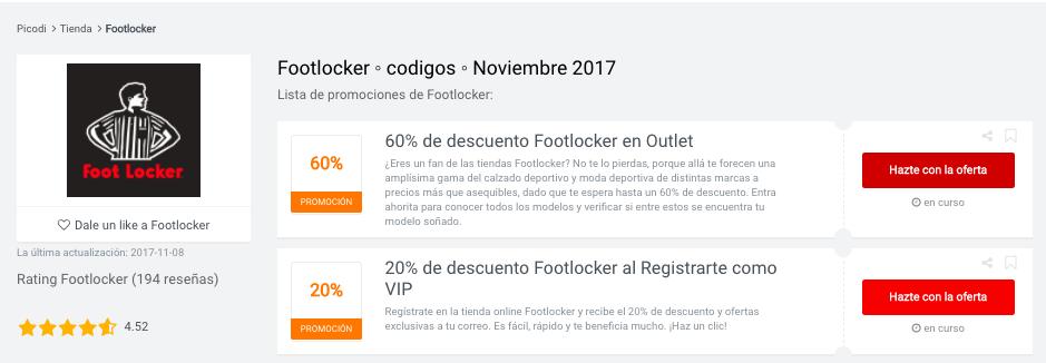 Ofertas Footlocker en Picodi México