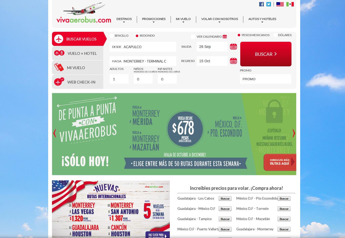 La página principal VivaAerobus - aprovecha los mejores precios en vuelos
