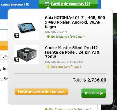 carrito de compras CyberPuerta