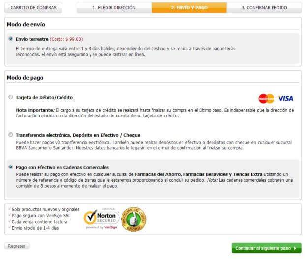 opciones de envío y pago CyberPuerta