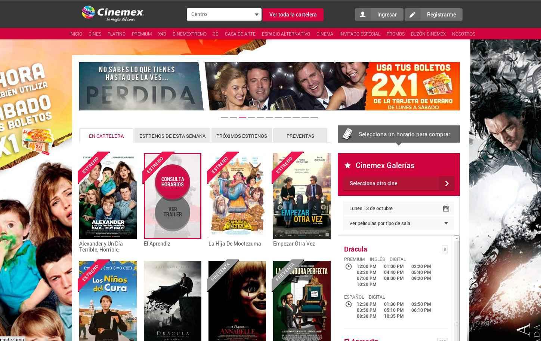 Sitio web de Cinemex- Ahorra en tus entradas de Cine