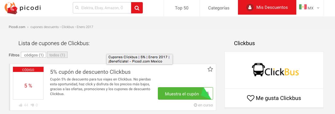 cupones descuento Clickbus