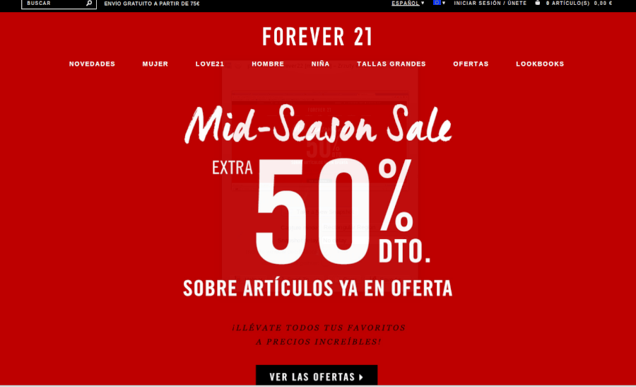 Visita la página principal de Forever21 y aprovecha los descuentos