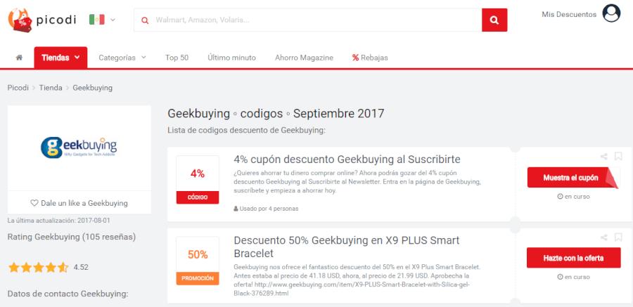 promociones página home geekbuying