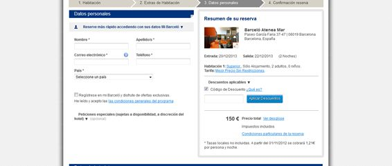disponibilidad de la reserva hoteles barceló