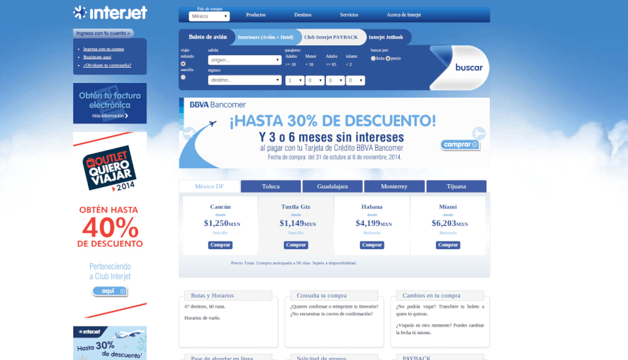 Visita la página principal de Interjet y comprueba las promociones