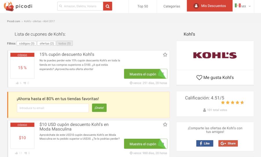 cupones descuento Kohl's