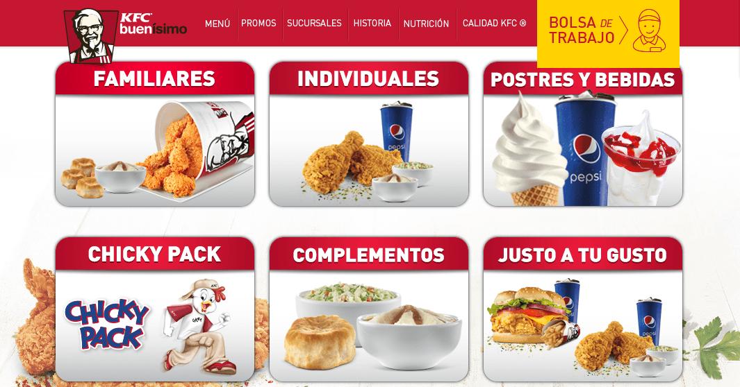 Men del restaurante KFC en México
