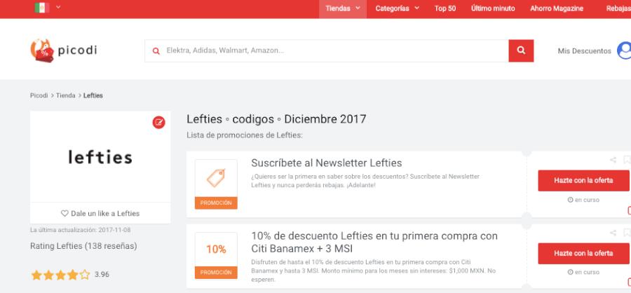 promociones Lefties en Picodi México
