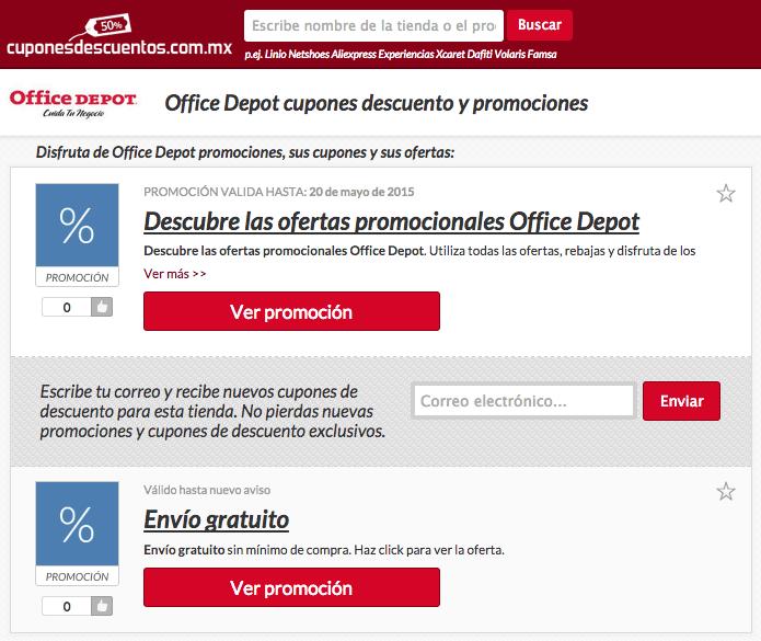 Promociones, cupones y descuentos de Office Depot en México