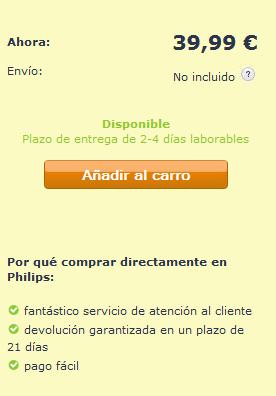 Realización del pedido con codigo promocional Philips