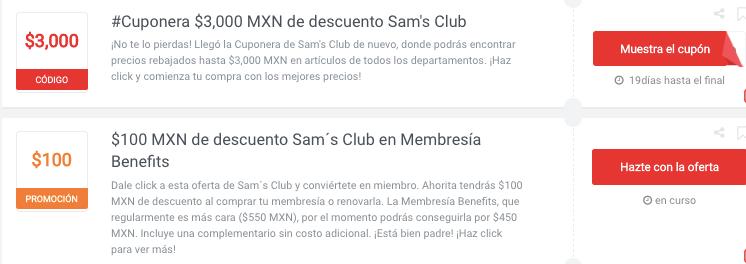 promociones y cupones Sam's Club