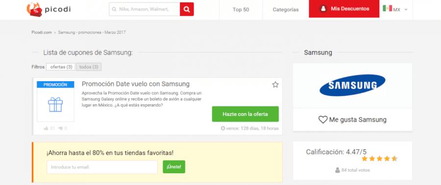 cupones descuento Samsung