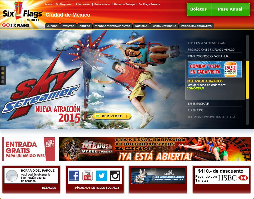 Página principal Six Flags México