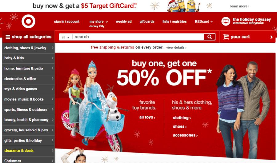 página principal Target