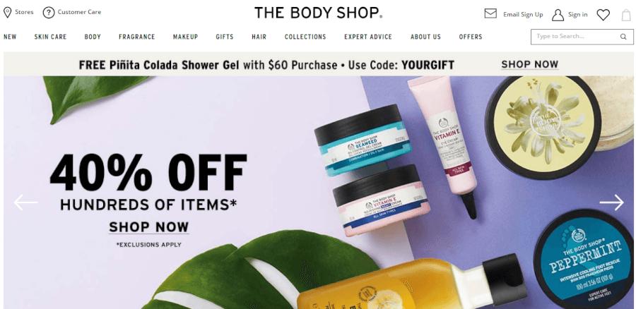 promociones página home the body shop