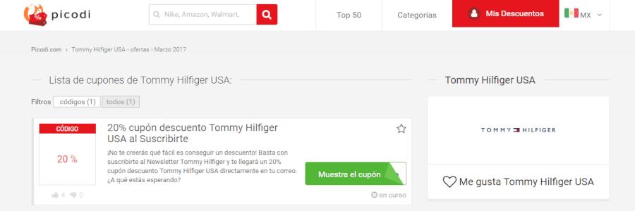 cupones descuento Tommy hilfiger