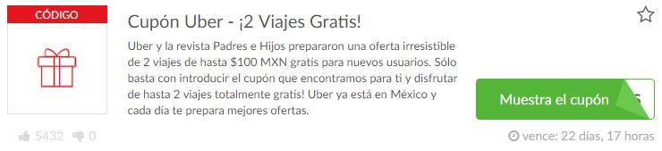 Cupón descuento para 2 Viajes gratis con Uber