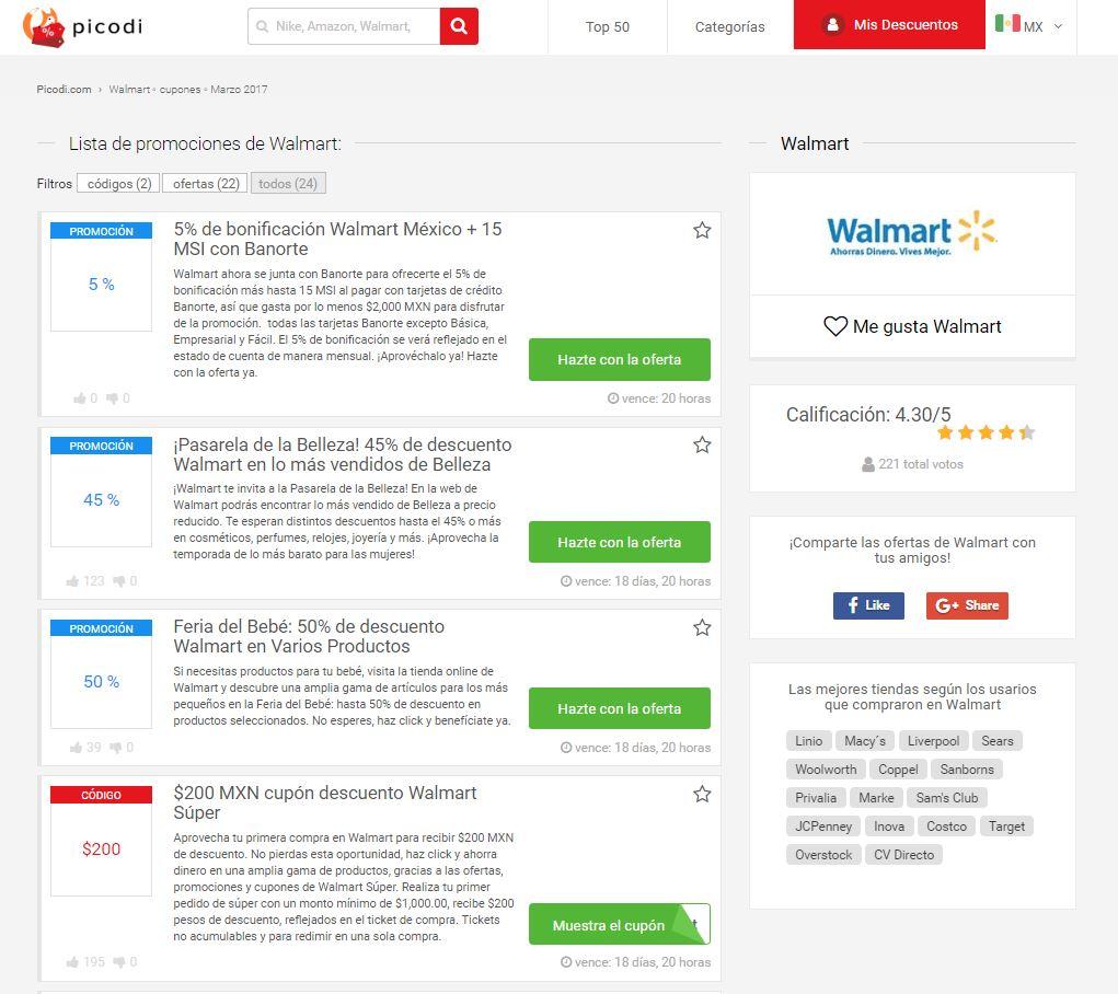 promociones Walmart en Picodi
