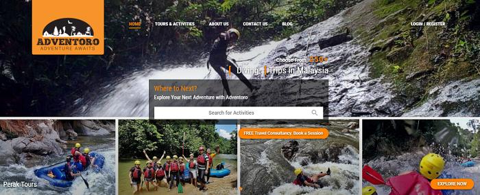 Browse the Adventoro's website