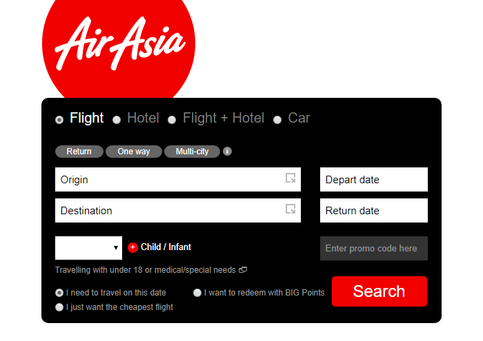 Use the handy AirAsia's search box