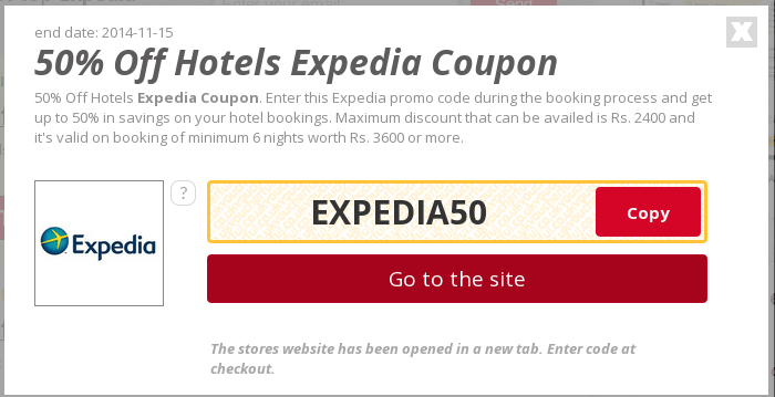 Expedia coupon code hotel
