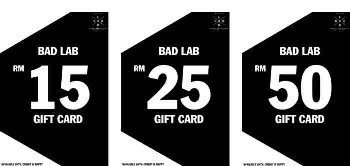 Gift cards at BadLabCo