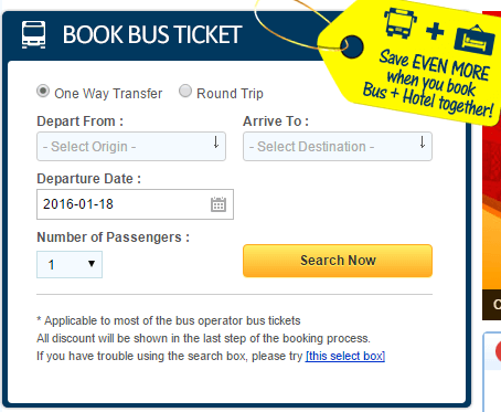 Busonlineticket - how to search for travel