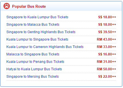 Popular routes at Busonlineticket