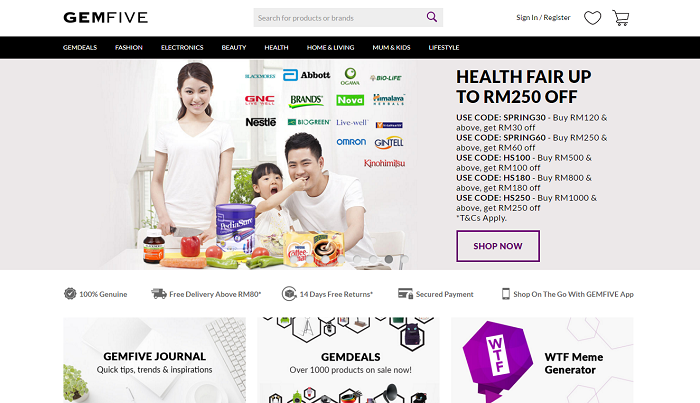 Gemfive Malaysia home page
