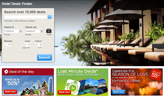 Search for hotels.com offers at the website