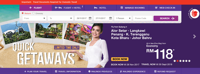 Malindo Air's front page