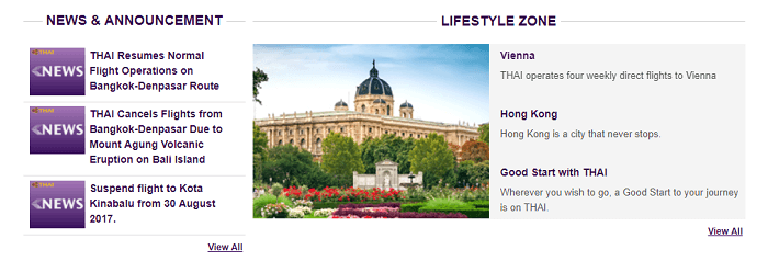 Read all about Thai Airways' lifestyle