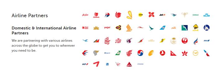 Airline partners of Traveloka
