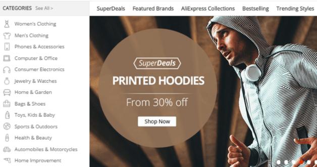 Aliexpress shopping categories
