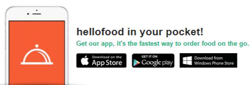 Hellofood mobile app discounts