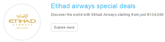 Etihad Airways exclusive deals at Travelstart