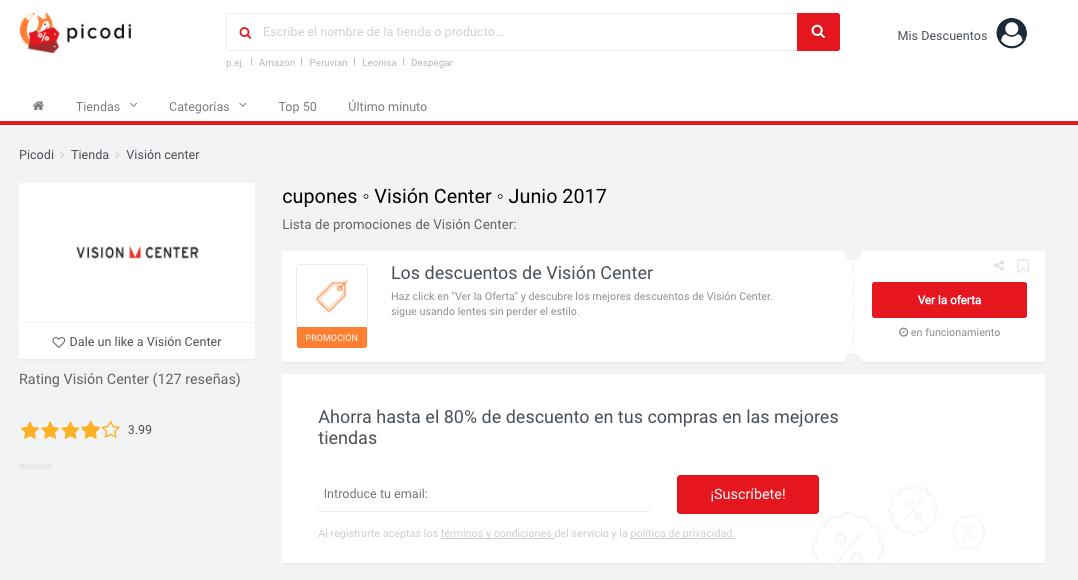 cupón vision center