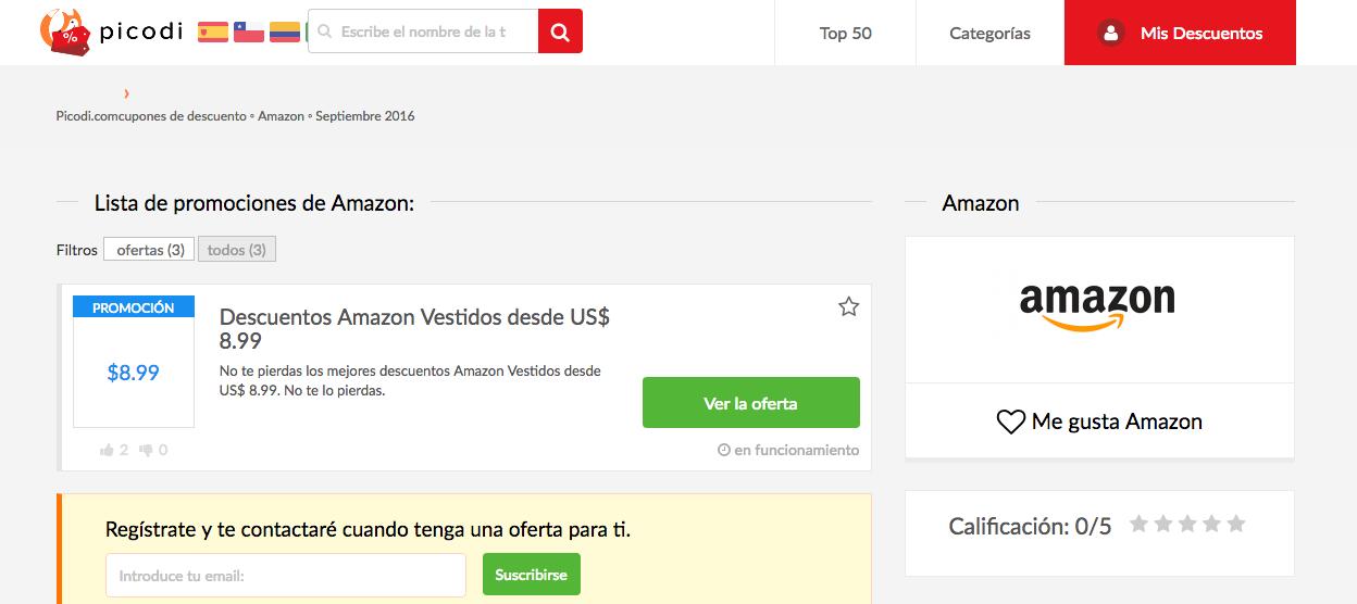 cupones de descuento Amazon en la pagina Picodi