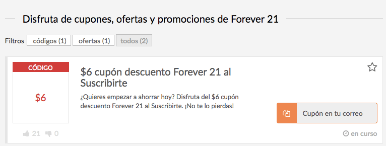 cupones Forever21