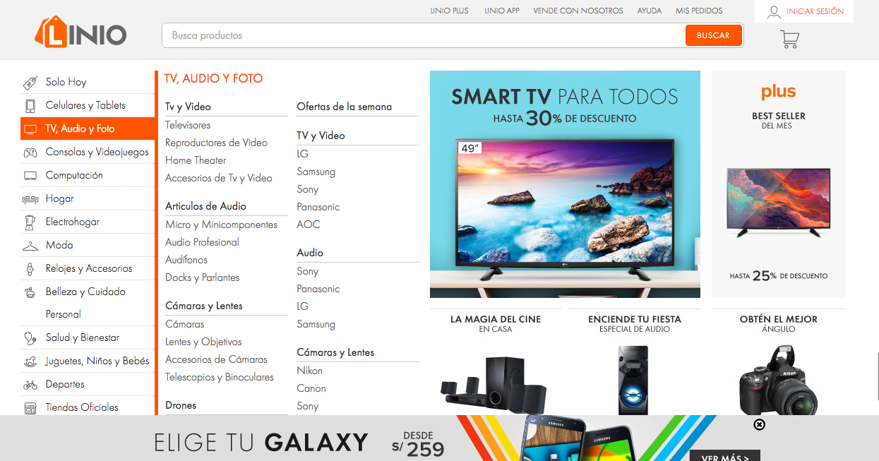 linio home page