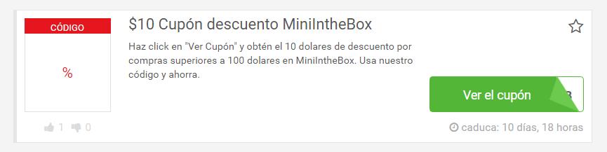 cupón Mini in the box
