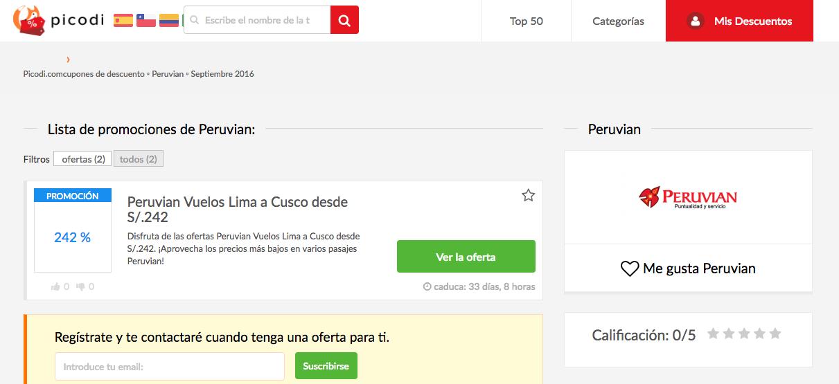 ofertas y promociones peruvian en picodi