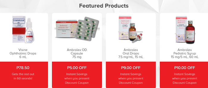 Featured products at Mercury Drug
