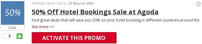 Agoda 50% off hotel discount