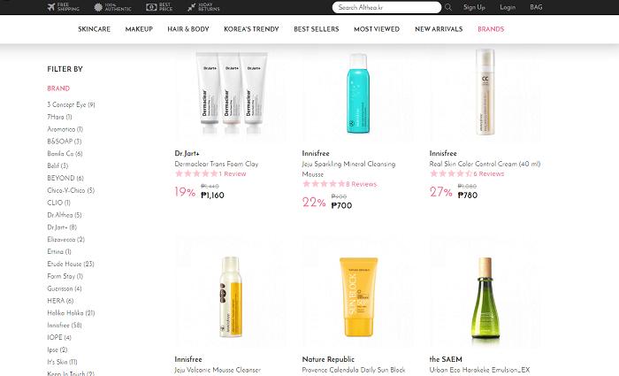 Althea beauty brands