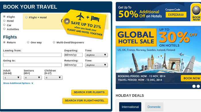 Search for domestic and international flights at Expedia