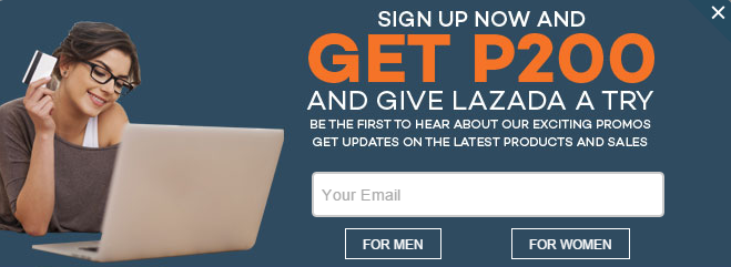 Newsletter sign-up at Lazada