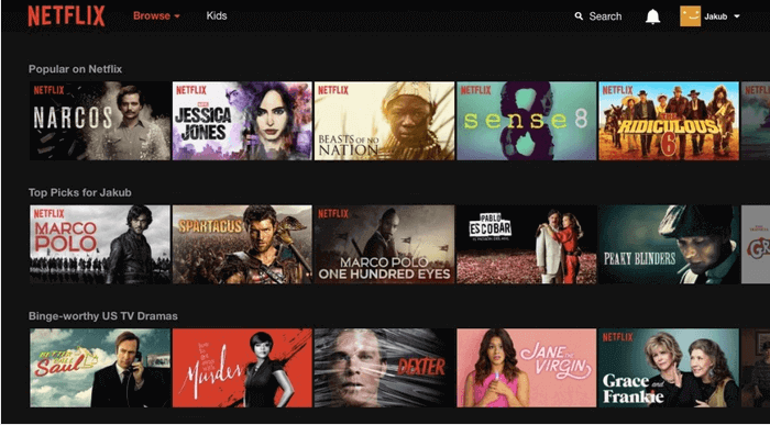 The choice of shows at Netflix