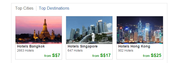 top cities and destinations at Trivago